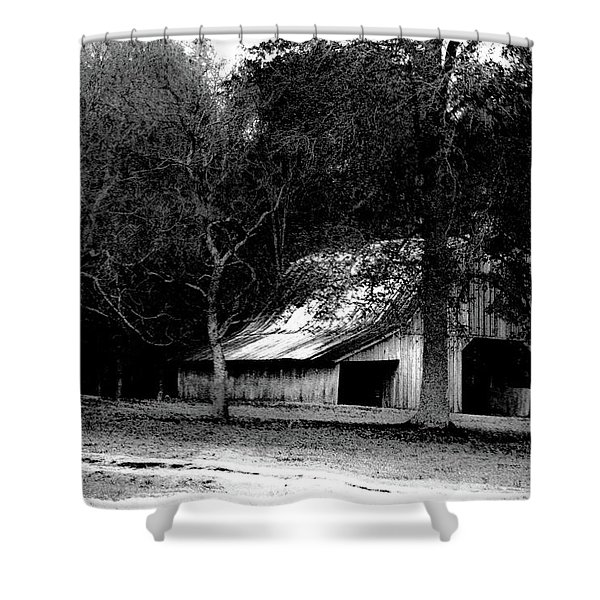 Autumn Barn In Alabama Bw Shower Curtain