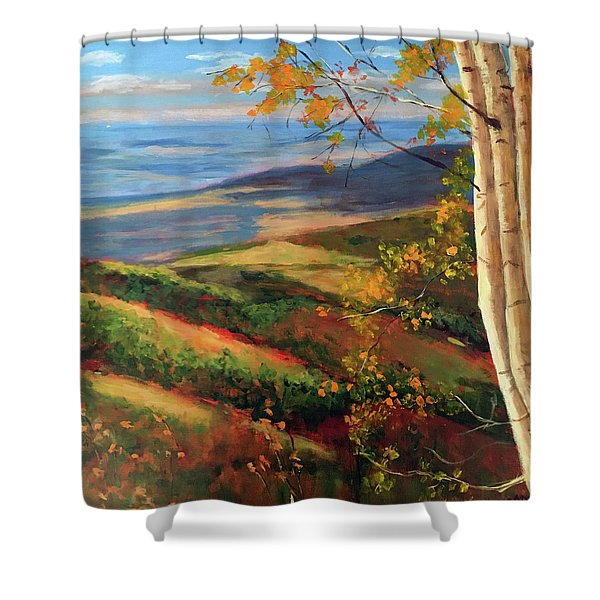 Autumn Birches Shower Curtain