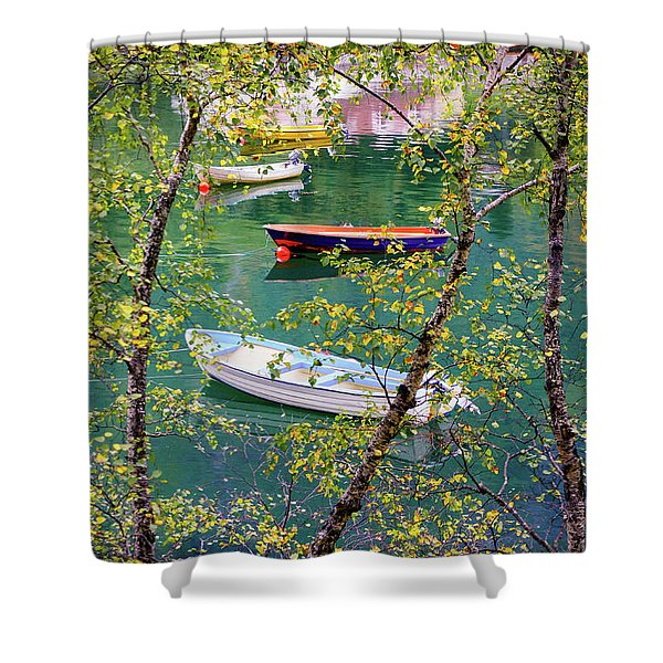 Autumn. Boats Shower Curtain