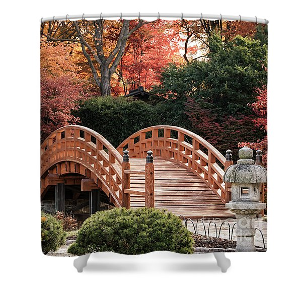Shower Curtain featuring the photograph Autumn Bridge by Andrea Silies