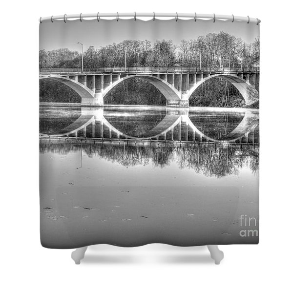 Autumn Bridge Reflections In Black And White Shower Curtain