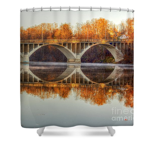 Autumn Bridge Reflections Shower Curtain