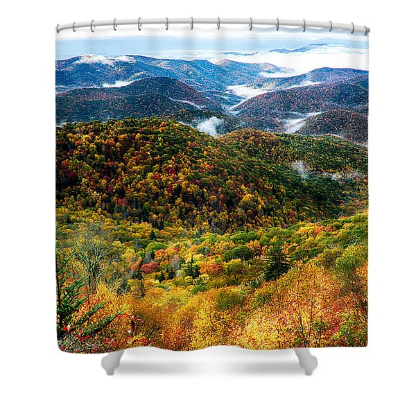 Shower Curtain featuring the photograph Autumn Foliage On Blue Ridge Parkway Near Maggie Valley North Ca by Alex Grichenko