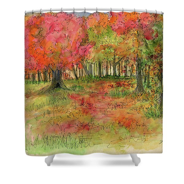 Autumn Forest Watercolor Illustration Shower Curtain