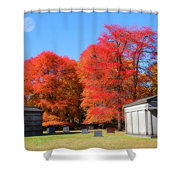 Autumn In The Cemetery Shower Curtain