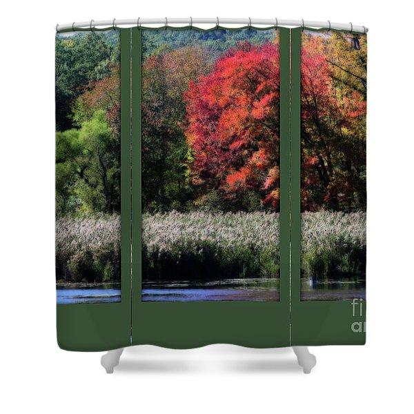 Autumn Marsh Through A Window Shower Curtain