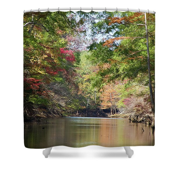 Autumn Over Golden Waters Shower Curtain