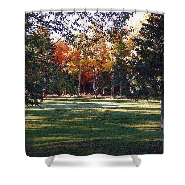 Shower Curtain featuring the digital art Autumn Park by Deleas Kilgore