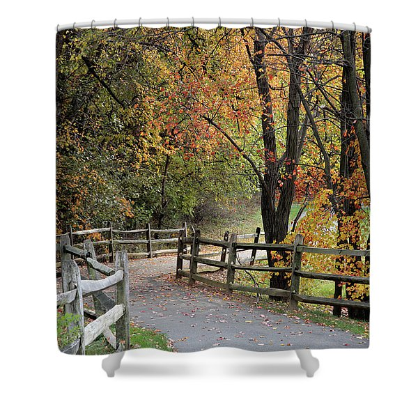 Autumn Path In Park In Maryland Shower Curtain