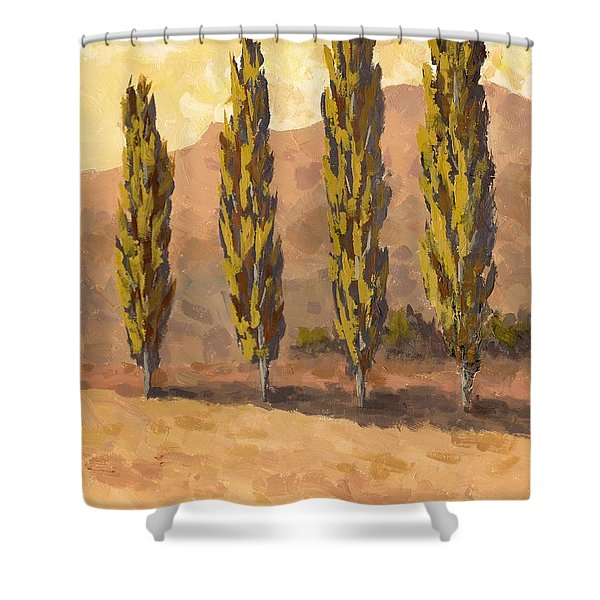 Autumn Poplars Shower Curtain