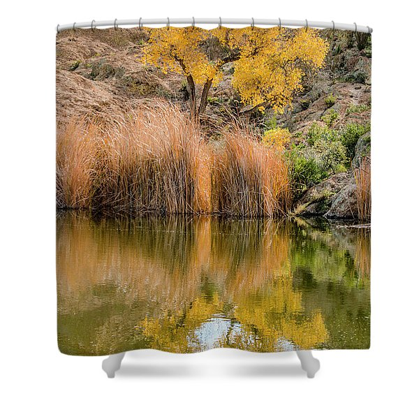 Autumn Reflection At Boyce Thompson Arboretum Shower Curtain
