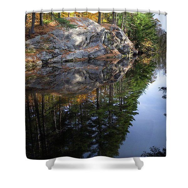 Autumn Reflections At Runaround Pond In Durham Maine  -20224 Shower Curtain