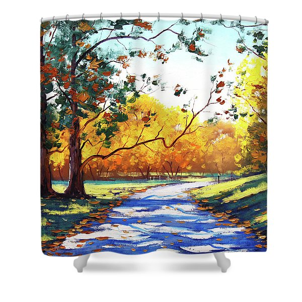 Autumn Road Mt Wilson Shower Curtain
