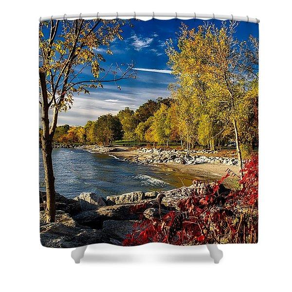 Autumn Scene Lake Ontario Canada Shower Curtain