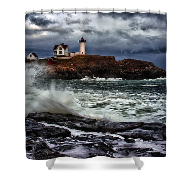 Autumn Storm At Cape Neddick Shower Curtain