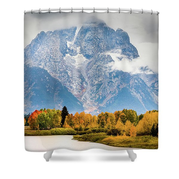 Autumn Storm Over Mount Moran Shower Curtain