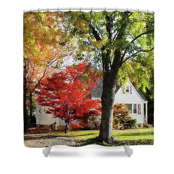 Autumn Street With Red Tree Shower Curtain by Susan Savad