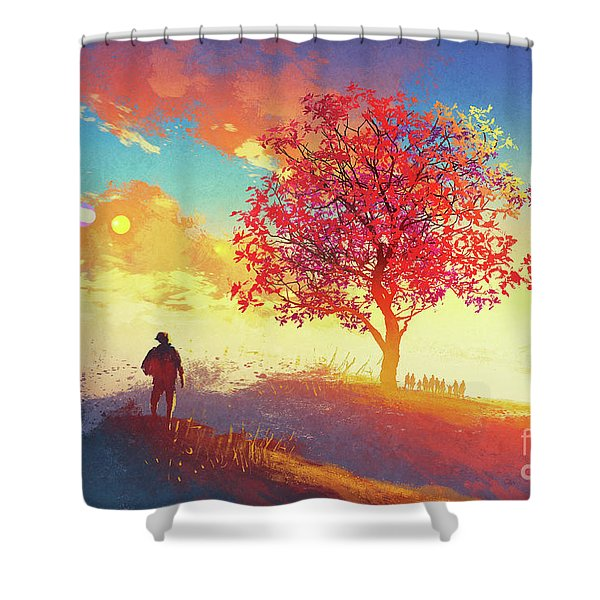 Shower Curtain featuring the painting Autumn Sunrise by Tithi Luadthong