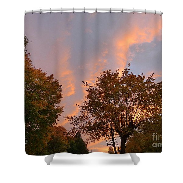 Shower Curtain featuring the photograph Autumn Sunset by Charles Robinson