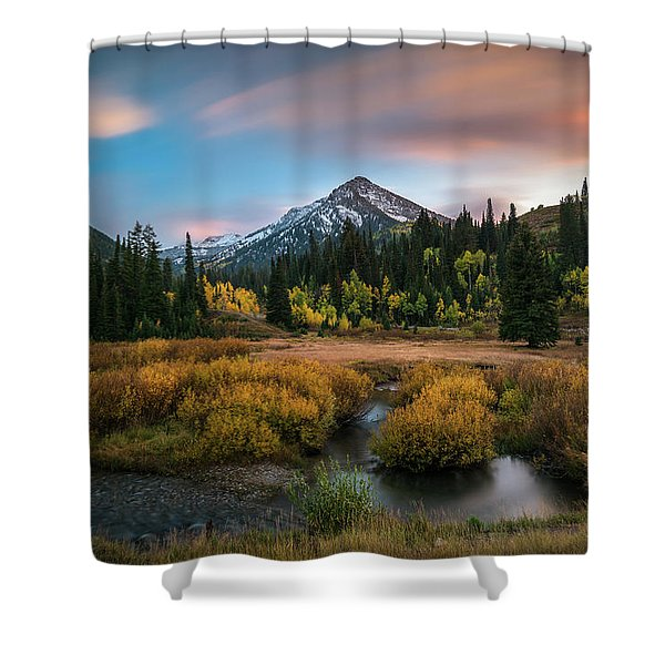 Autumn Sunset In Big Cottonwood Canyon Shower Curtain