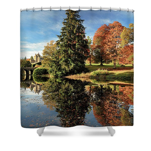 Autumn Tree Reflection Shower Curtain