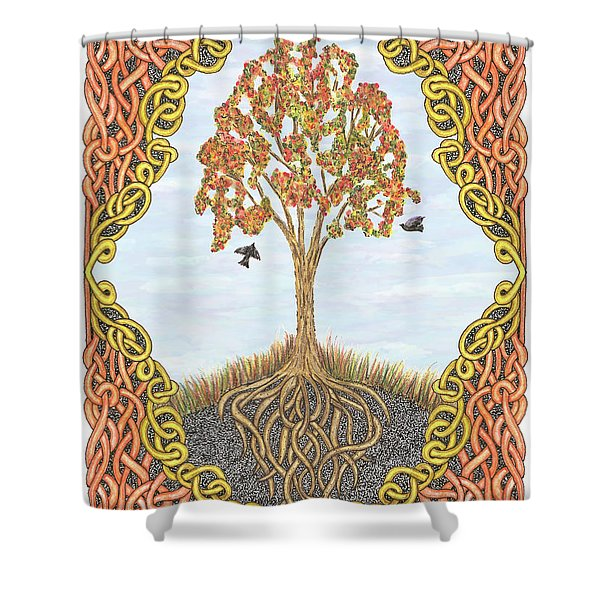 Autumn Tree With Knotted Roots And Knotted Border Shower Curtain