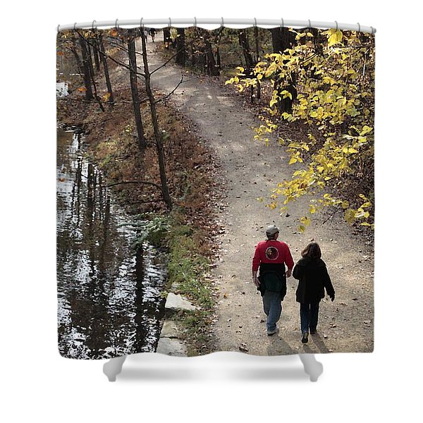 Autumn Walk On The C And O Canal Towpath With Oil Painting Effect Shower Curtain