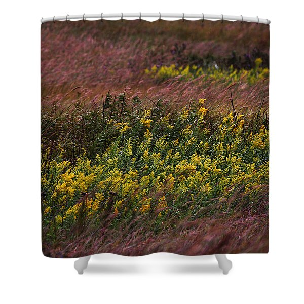 Autumn Wind Blowing Golden Rod Shower Curtain