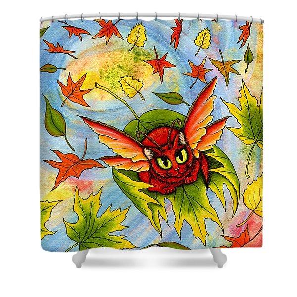 Autumn Winds Fairy Cat Shower Curtain