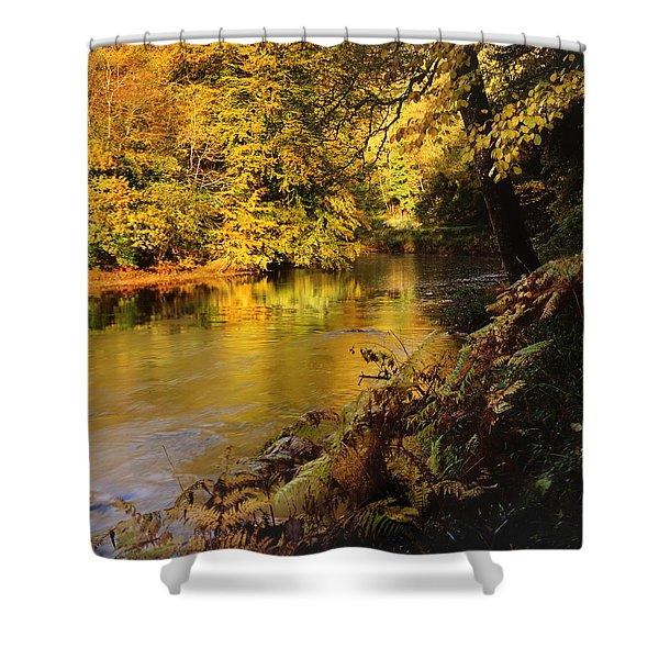 Autumnal Tamar River Devon Shower Curtain