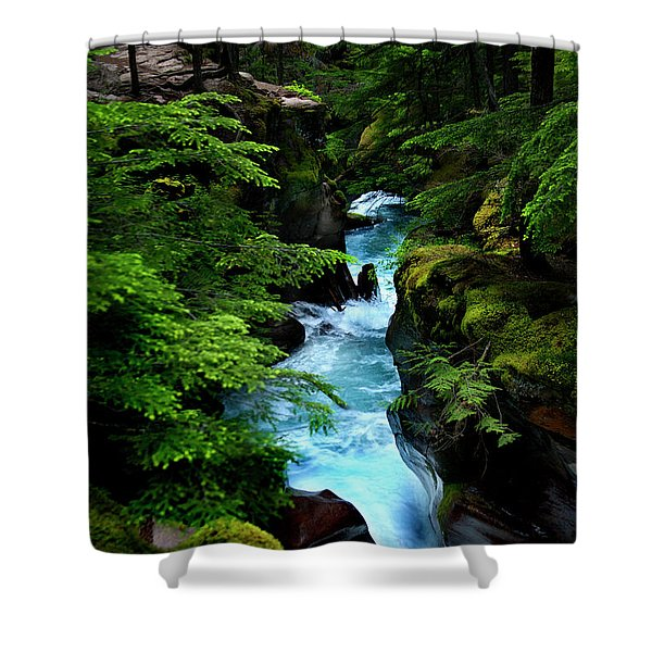 Avalanche Creek Waterfalls Shower Curtain