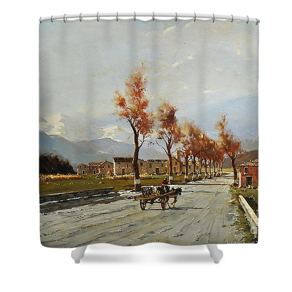 Shower Curtain featuring the painting Avellino's Landscape  by Rosario Piazza