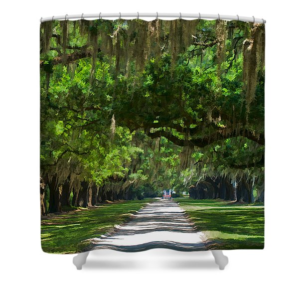 Avenue Of The Oaks At Boonville Plantation Shower Curtain