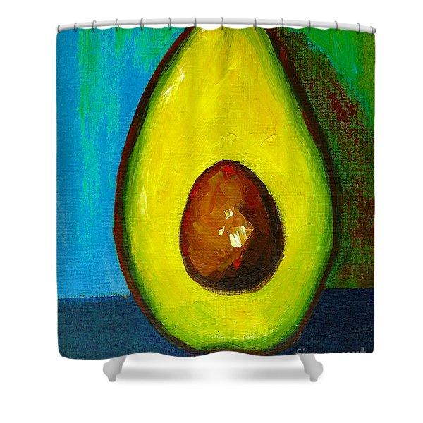 Avocado, Modern Art, Kitchen Decor, Blue Green Background Shower Curtain