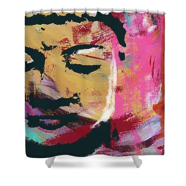 Awakened Buddha 3- Art By Linda Woods Shower Curtain