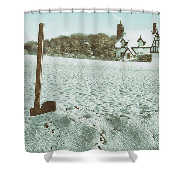 Axe In The Snow Shower Curtain