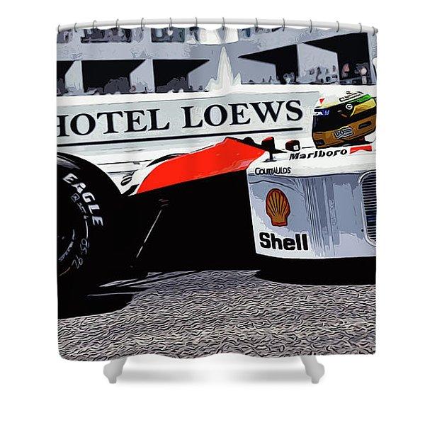 Ayrton Senna - Montecarlo Shower Curtain