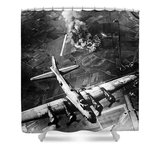 B-17 Bomber Over Germany  Shower Curtain