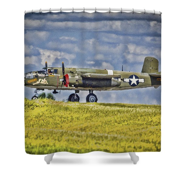 B-25 Landing Akron/canton Ohio Shower Curtain