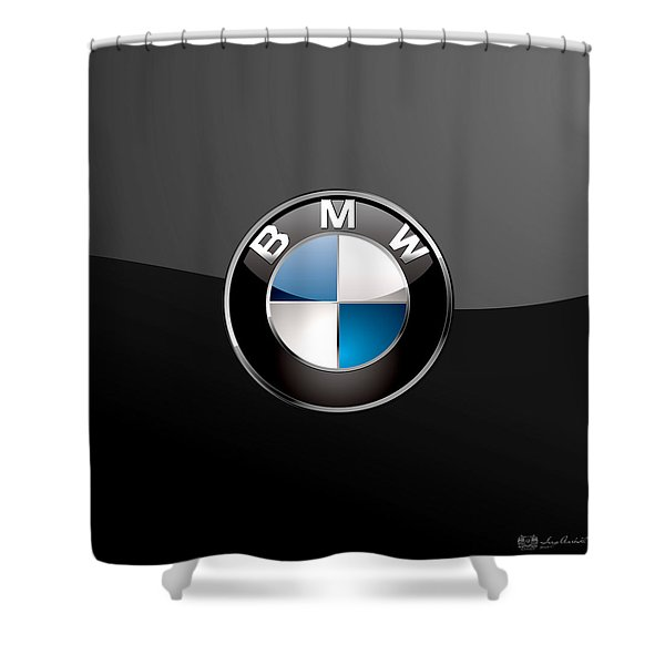 B M W  3 D Badge On Black Shower Curtain