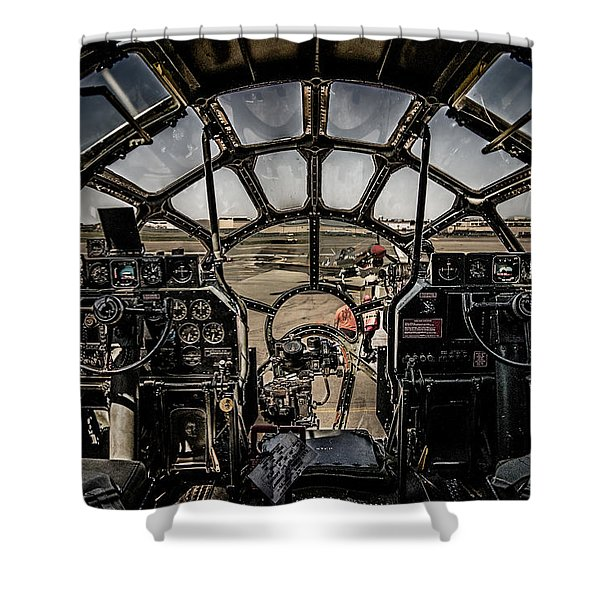 B29 Superfortress Fifi Cockpit View Shower Curtain