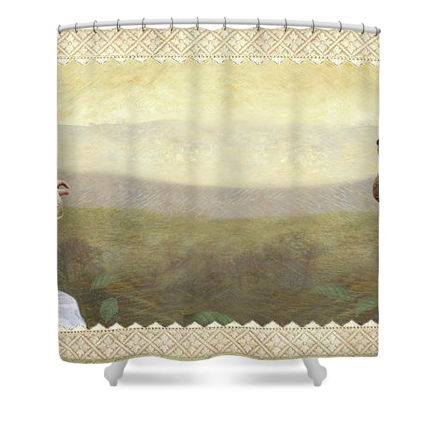 Baby And Bunny Talk Shower Curtain