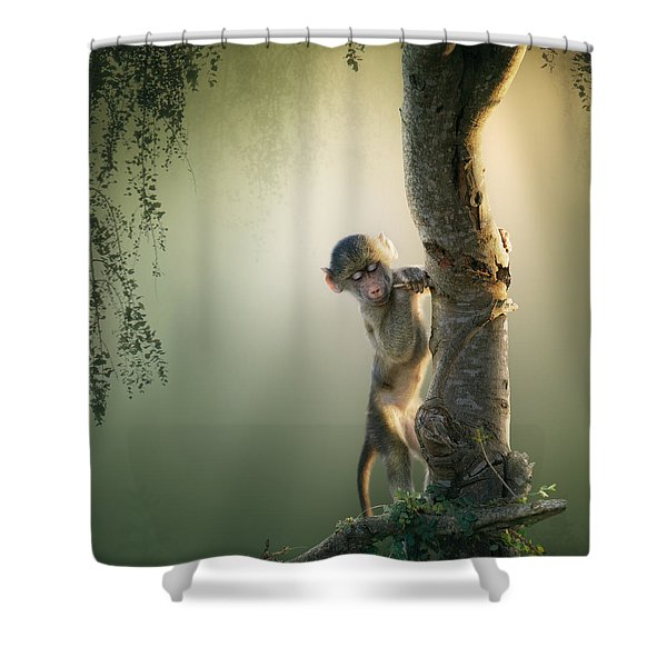 Baby Baboon In Tree Shower Curtain