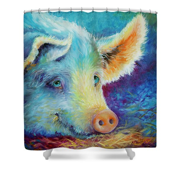Baby Blues Piggy Shower Curtain