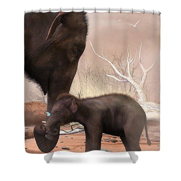 Baby Elephant Shower Curtain