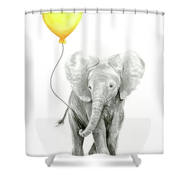Baby Elephant Watercolor With Yellow Balloon Shower Curtain