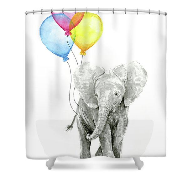Baby Elephant With Baloons Shower Curtain