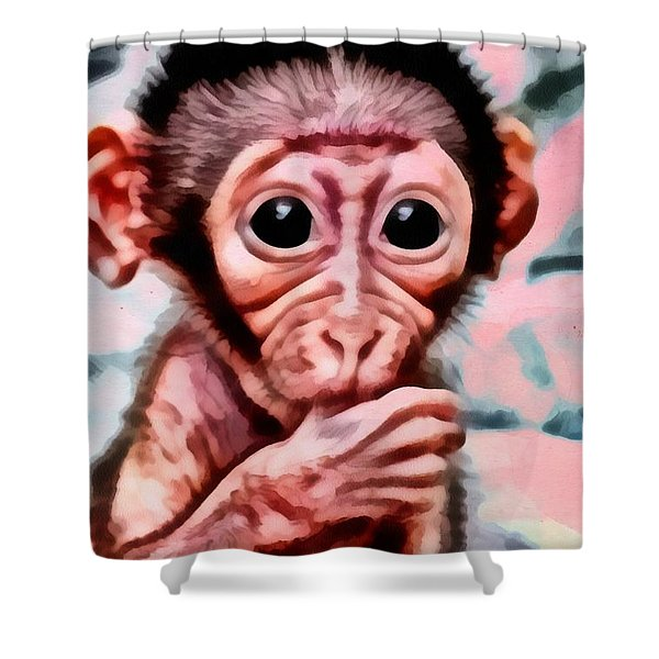 Baby Monkey Realistic Shower Curtain