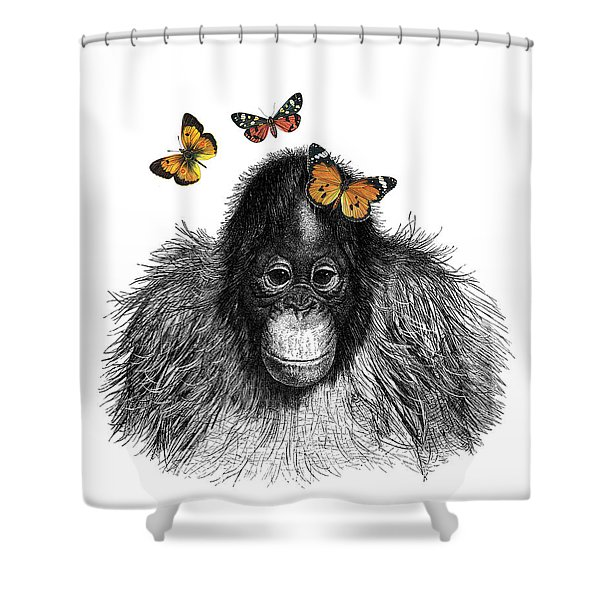 Baby Monkey With Orange Butterflies Shower Curtain