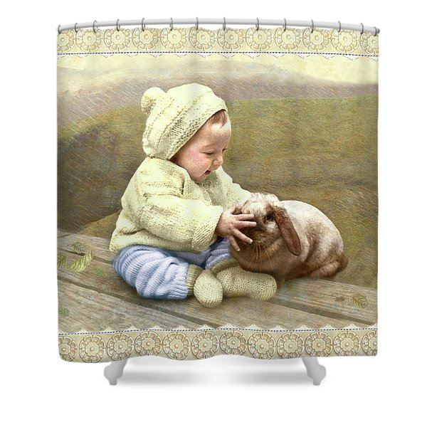 Baby Touches Bunny's Nose Shower Curtain